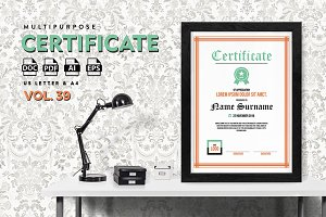 Best Multipurpose Certificate Vol 39