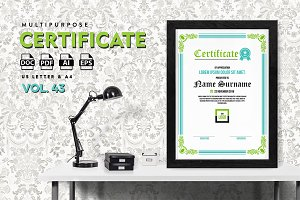 Best Multipurpose Certificate Vol 43
