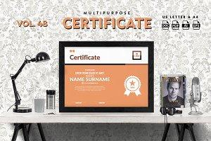 Best Multipurpose Certificate Vol 48