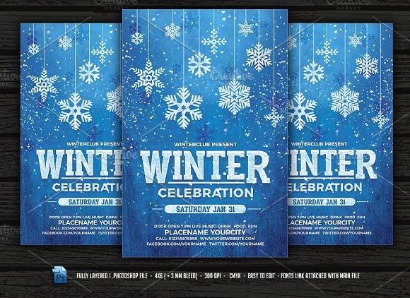 winter flyer bundle flyer templates creative market