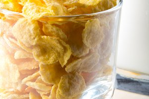Corn flakes and glass of milk