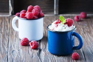 cottage cheese with raspberry