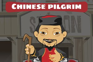 Cartoon character chinese pilgrim