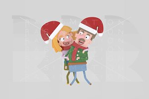 3d illustration. Christmas Couple.