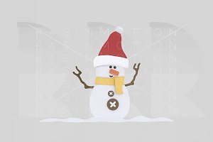 3d illustration. Snowman over snow.