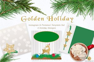 Golden Holiday Template Set