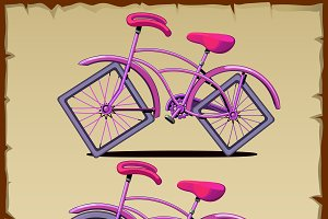 Two pink bicycles