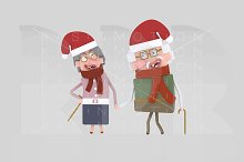 3d illustration.Christmas old Couple