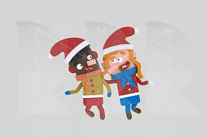 3d illustration. Christmas Kids.