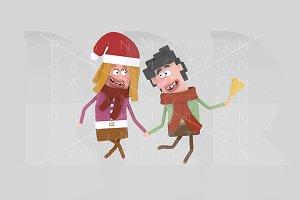 3d illustration. Christmas Couple.