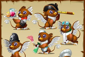 Set of cute busy griffons