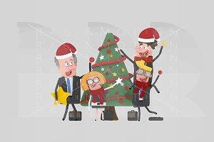 3d illustration. Christmas Teamwork.
