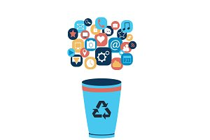 Flat Social media with recycle bin