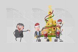 3d illustration.Christmas Boss.