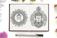 Buddha Tattoo+Seamless Patterns
