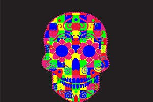 Skull icon with cubes neon color
