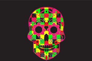 Skull icon cubes neon color