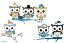 Blue and grey winter owls clipart