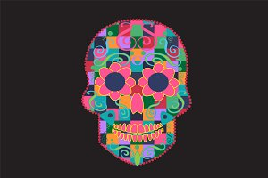 Skull icon cubes pink color