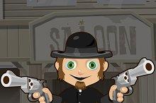 Cartoon character -  man with guns