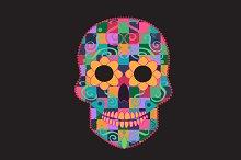 Skull icon cubes orange color