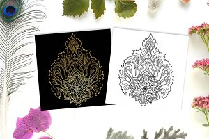 Lotus Tattoo+Seamless Patterns