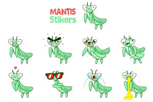 Mantis Bugs Emoticons Sticker Set
