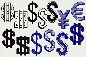 Yen, euro and dollar SVG