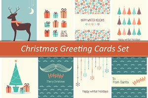 8 vector Christmas greeting cards