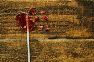 Broken red lollypop