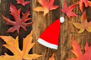 Red Santa Claus hat with dry leaves