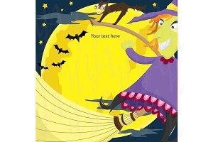Witch Holloween Clip Art Invitation