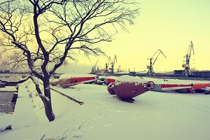 Riga, port. Winter
