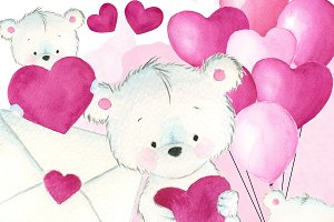 Love teddy bear clipart + papers