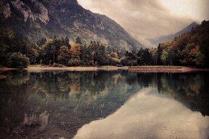 Beautiful Autumn Landscape and Lake