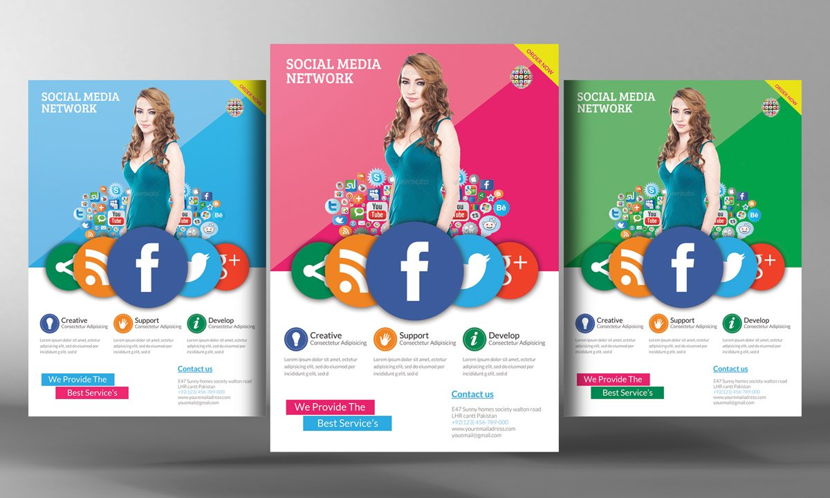 Social media flyer template flyer templates creative for Social networking sites templates php