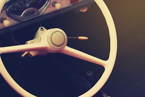 Steering wheel of classic car