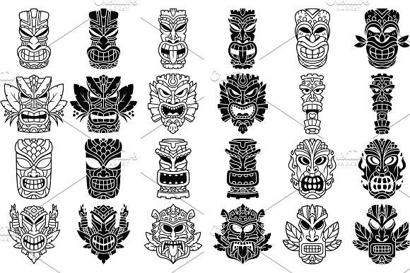 Tiki head illustrations set illustrations creative market stopboris Images