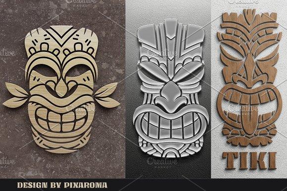 Tiki Head Illustrations Set Creative Market