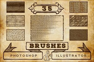 Vintage Print Texture Brushes PS/AI