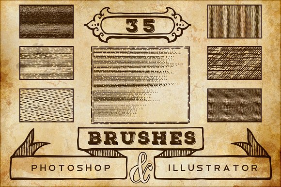 Vintage Print Texture Brushes PS/AI in Photoshop Brushes