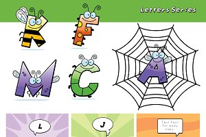 Cartoon Bug Letters