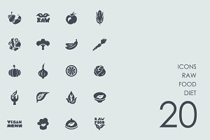 Raw food diet icons