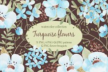 Turquoise flowers. Watercolor.