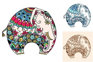Set of decorated Indian Elephant