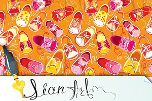 Seamless pattern, children gumshoes