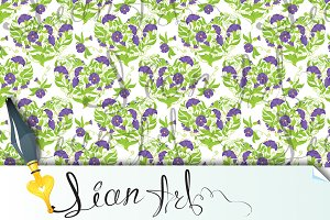 Seamless pattern, Flowers hearts