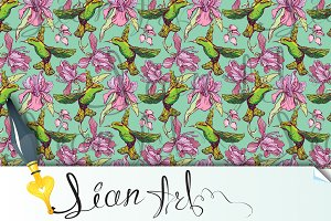 Seamless pattern. Colibri and flower