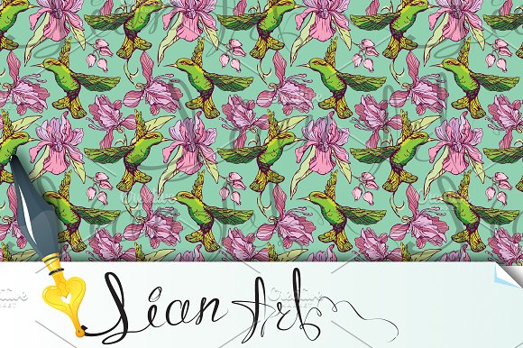 Seamless Pattern Colibri And Flower