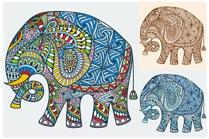 Set of decorated Indian Elephant  3
